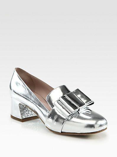 8c24f384d3e Miu Miu - Metallic Leather Bow   Glitter-Heel Loafer Pumps - Saks ...