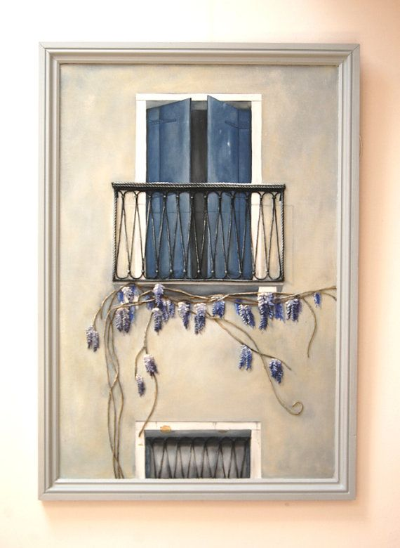 French Balcony Painting With Wisteria String Art Mixed Media