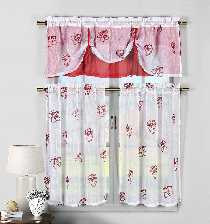 Amazon.com: 3 Piece Sheer Window Curtain Set: Fruit Embroidery, 2 ...