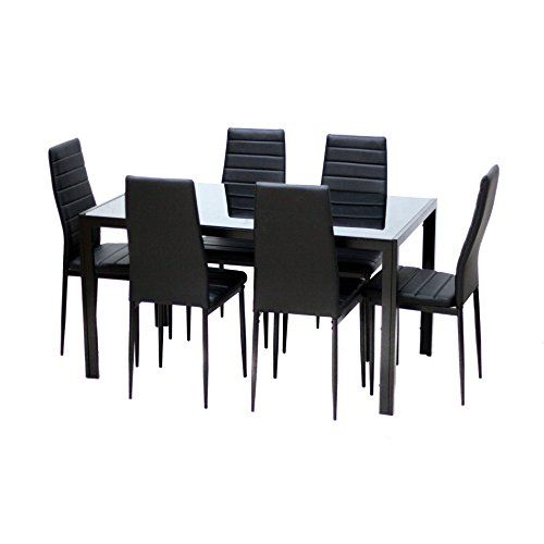 Mlm 17429 6 Bk 4 The 7 Piece Dining Set Includes A Glass Topped Table And Six Com Glass Dining Table Set Dining Room Furniture Modern Dining Table In Kitchen