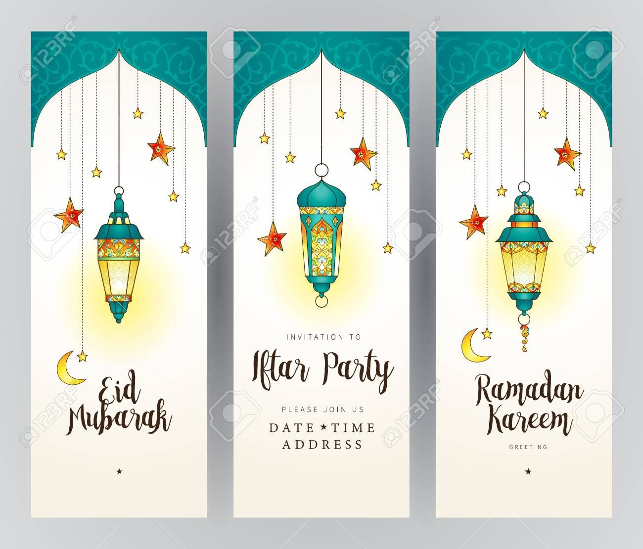 Vector Ramadan Kareem Cards Ornate Invitation To Iftar Party