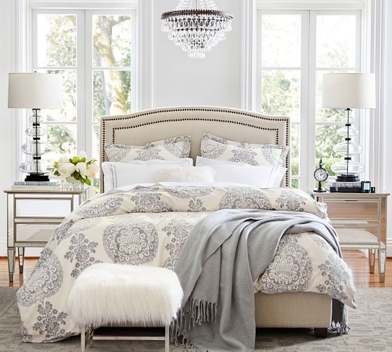 Lucianna Medallion Duvet Cover King Cal King Gray At