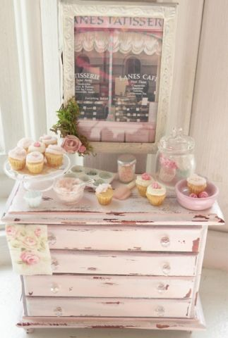 Cynthia's Cottage Design- pink chest with baked goodies