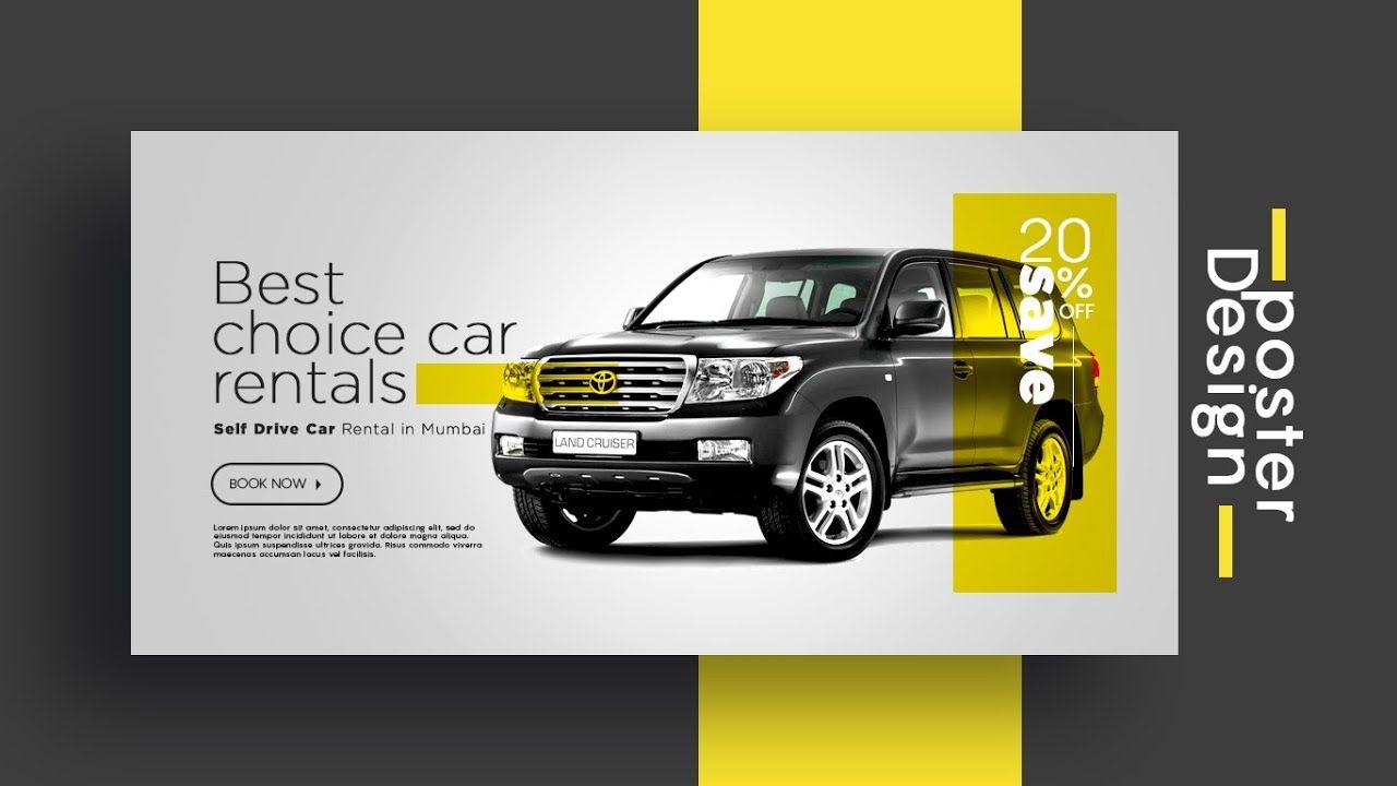 Car rent promo poster design in cc in 2020 car