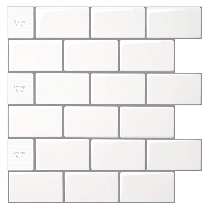 Amazon Com 10 Sheet Peel And Stick Tile For Kitchen Backsplash 12x12 Inches White Subway Tile With Stick On Tiles Kitchen Backsplash Peel N Stick Backsplash
