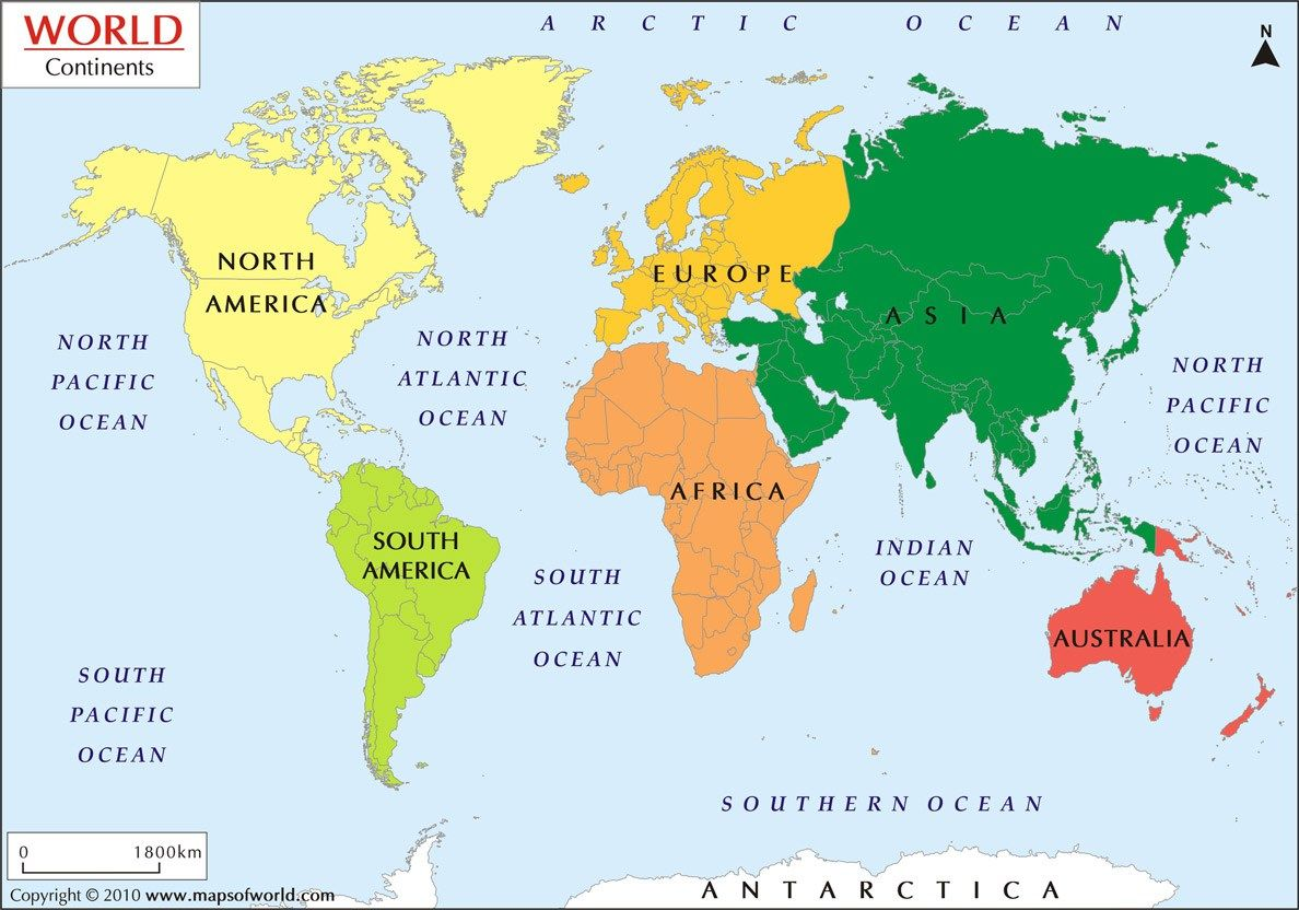 Continent And Their Countries Seven Continents Of The
