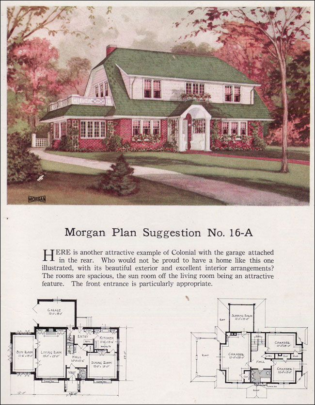 1923 Morgan Sash Door 16a Dutch Colonial Side Sunporches Were A Popular Feature On Colonial Revivals Dutch Colonial Homes Colonial Exterior Dutch Colonial