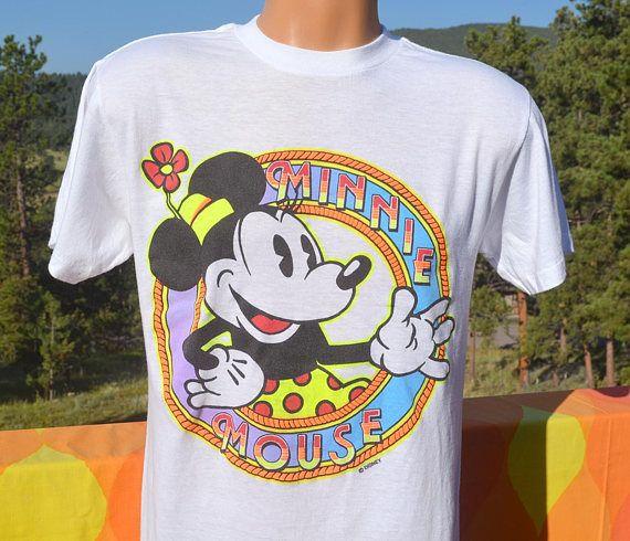 Spiderwire Logo Design T Shirt Size Medium Polyester: Vintage 80s T-shirt Disney MINNIE MOUSE Neon Mickey Tee