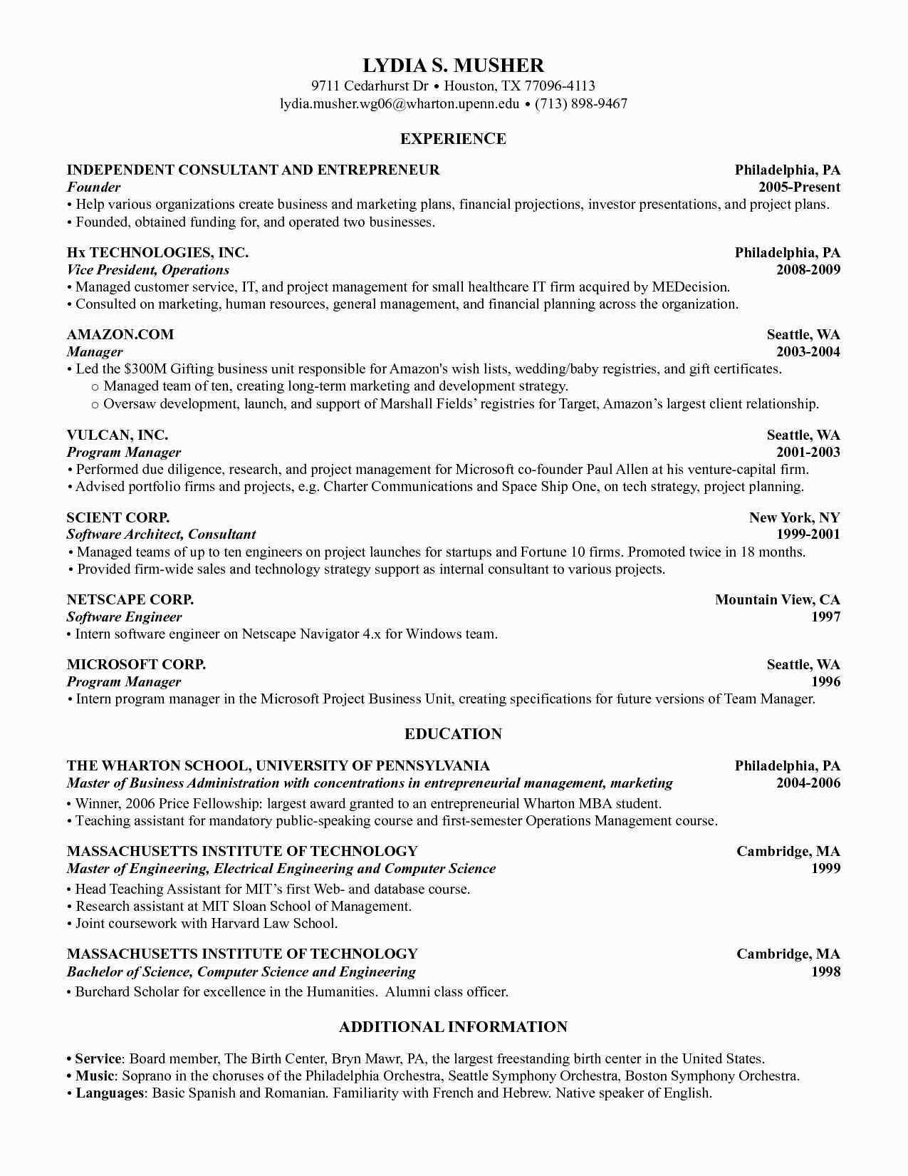 Harvard Business School Business resume template