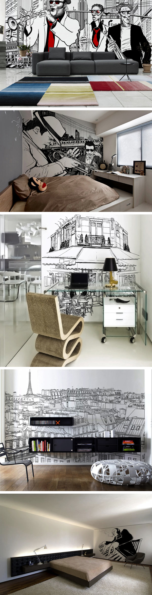 Artistic Interior Design - Adding Personality to Modern Interiors: City Never Sleeps Wall Murals by Pixers original from http://cdn.freshome.com/2013/02/20/adding-personality-to-modern-interiors-city-never-sleeps-wall-murals-by-pixers/