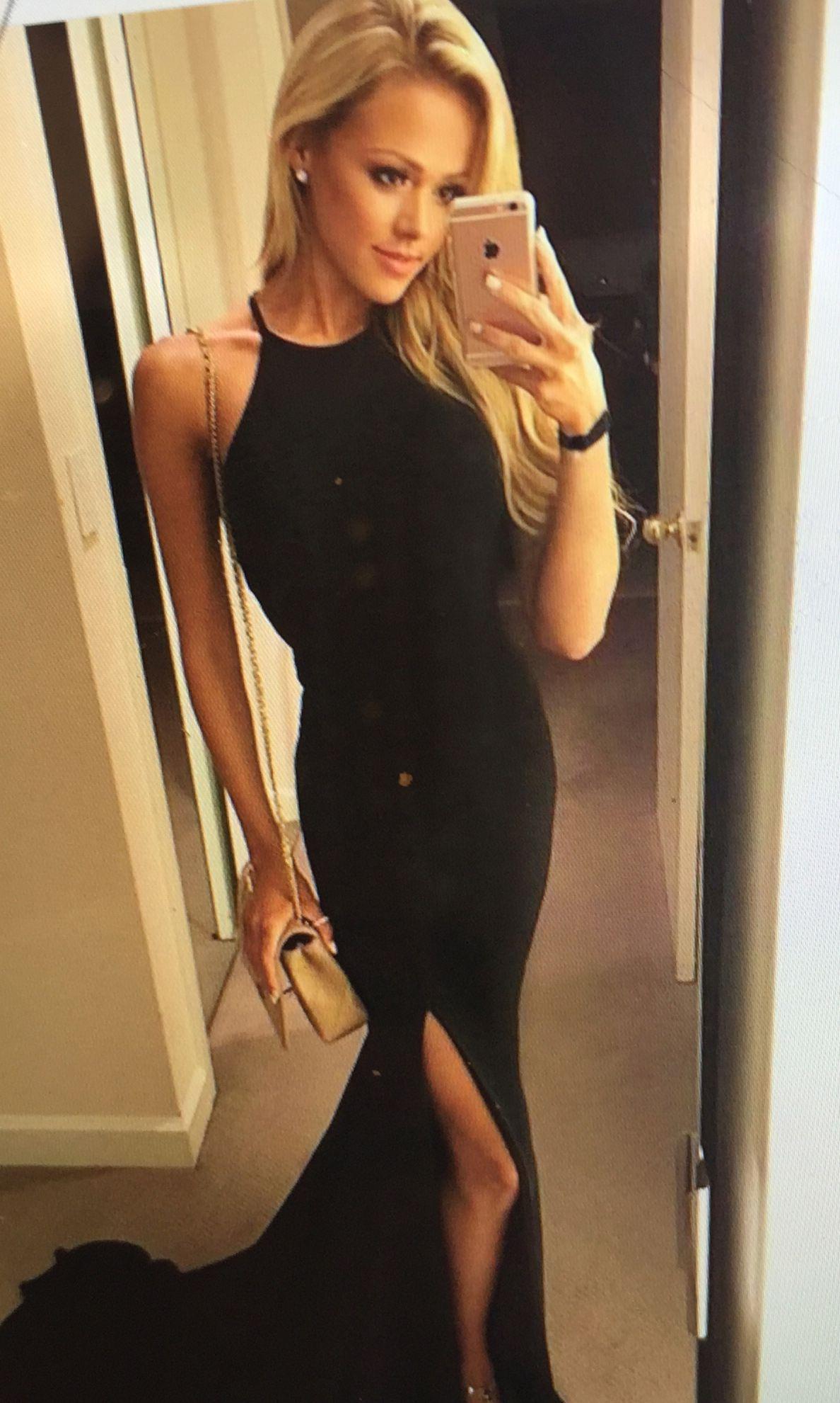 Sexy black prom dress mermaid halter sweep train with slit