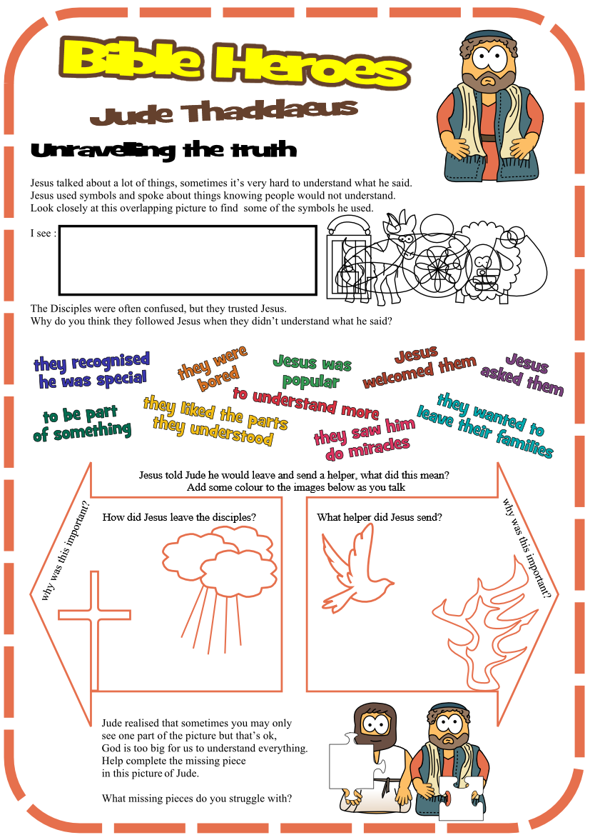 worksheet for Jude Thaddaeus Church Camp, Youth Activities, Bible Lessons  For Kids, Follow