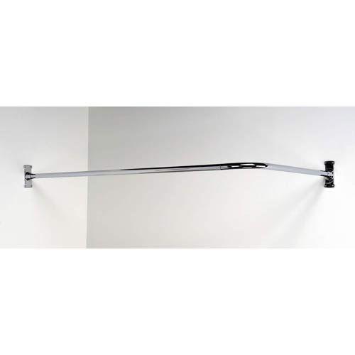 Polished Chrome 60 X 26 Inch Corner Shower Curtain Rod Corner