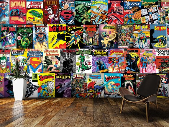 Dc comics montage wall mural room setting home ideas for Comic book wallpaper mural