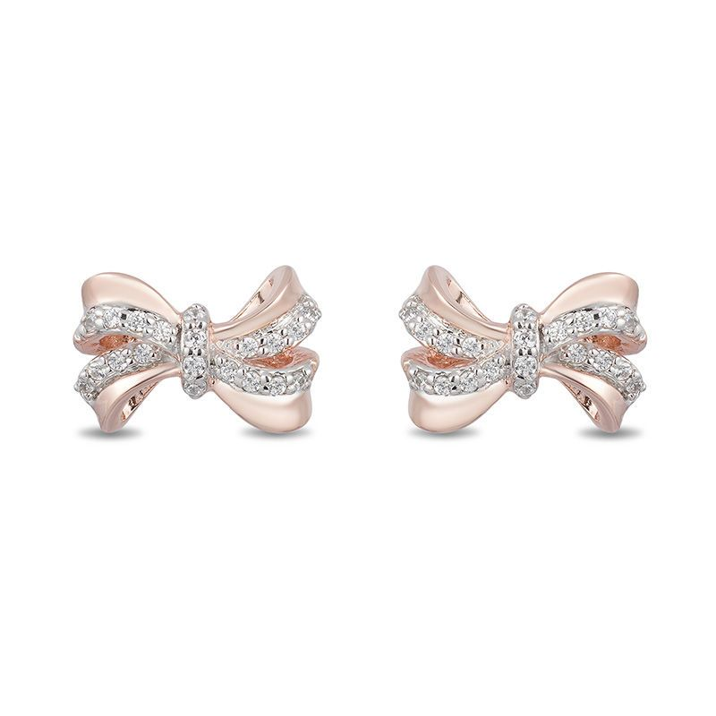 e90739754 Enchanted Disney Snow White 1/10 CT. T.W. Diamond Bow Stud Earrings in 10K  Rose Gold