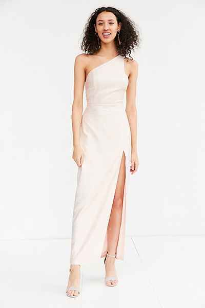Silence Noise Metallic One Shoulder Maxi Dress Prom Dresses