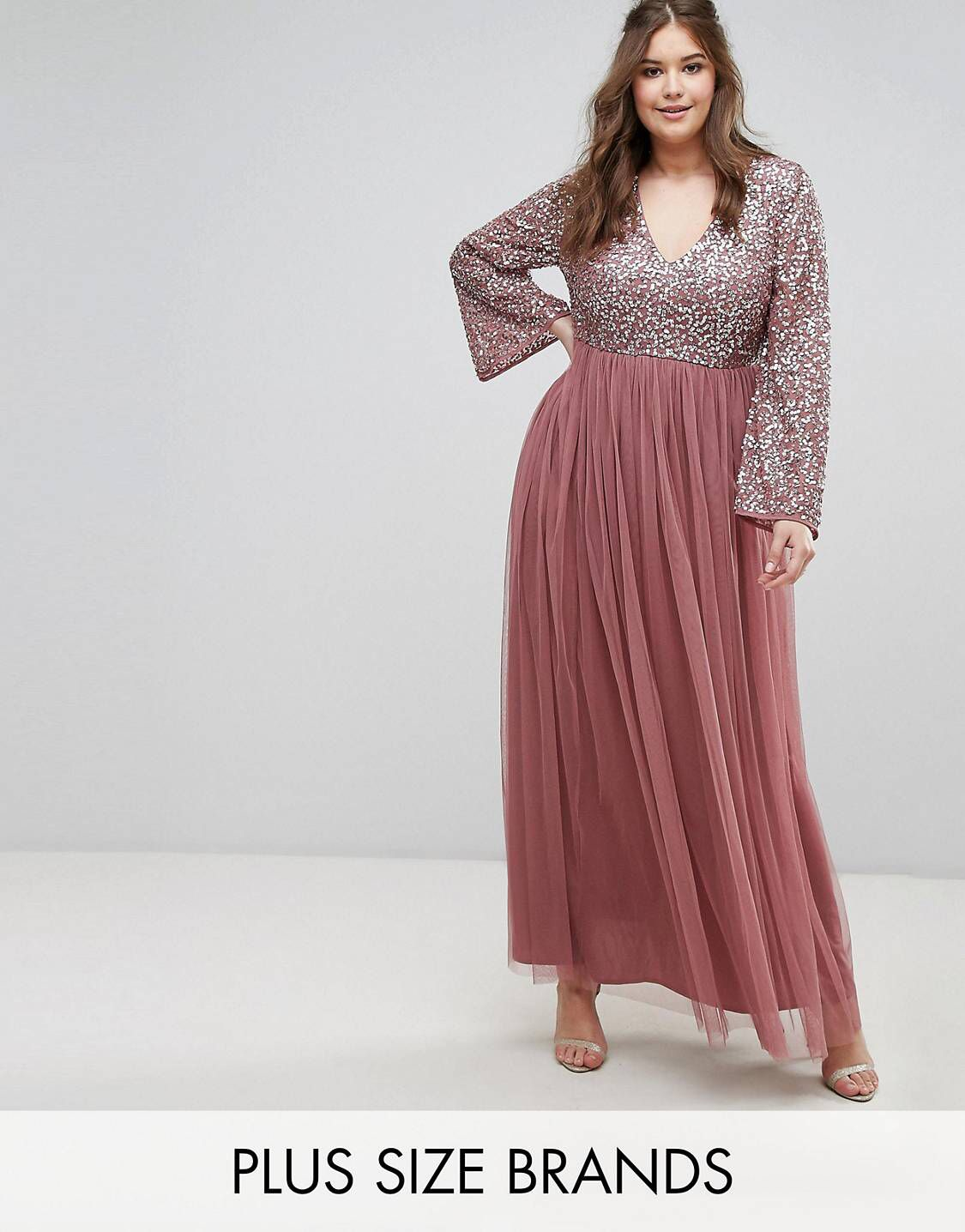 5b0c653a63 Maya Plus Long Sleeve V Neck Maxi Dress With Tonal Delicate Sequins ...