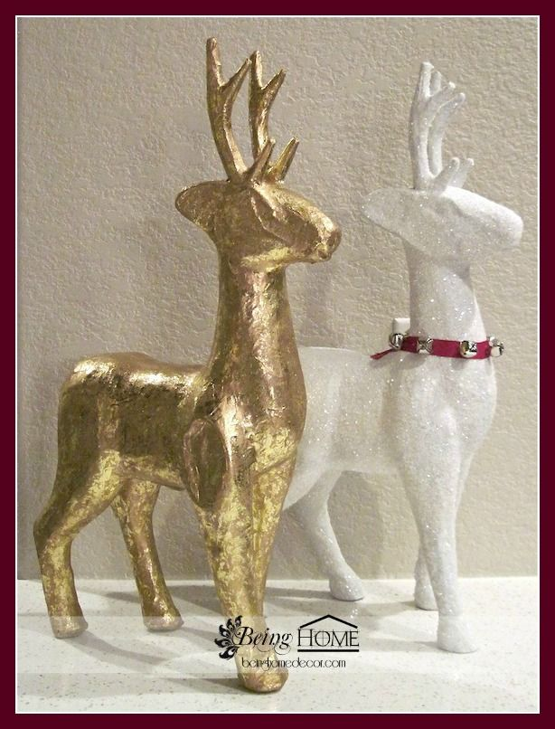 Michaels gold paper mache reindeer transformed christmas