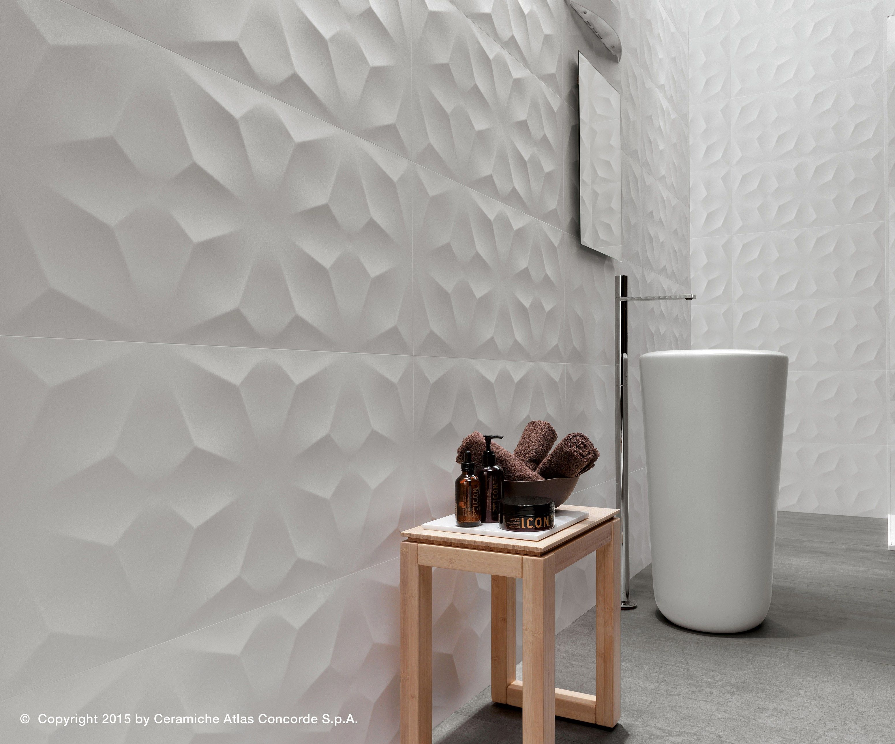 White paste 3D Wall Cladding 3D WALL DESIGN DIAMOND by Atlas Concorde