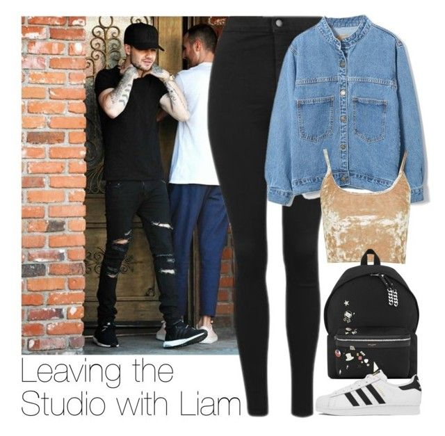 """""""Leaving the Studio with Liam"""" by zarryalmighty ❤ liked on Polyvore featuring Topshop, WithChic, Yves Saint Laurent, adidas and LiamPayne"""