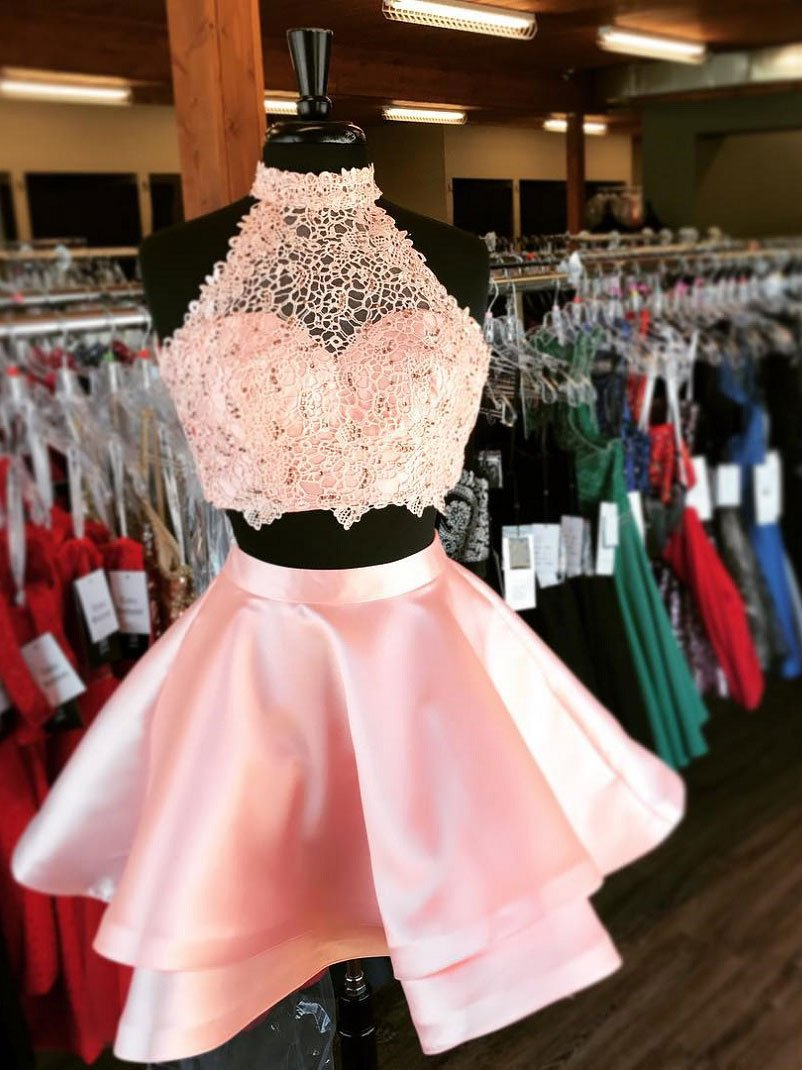 Princess Halter 2 Piece Homecoming Dresses,Mini Short Prom Dresses ...