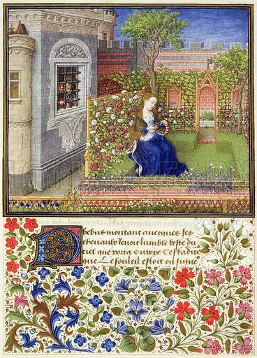 From Giovanni Boccaccio (1313-75):  Emilia in the Rosegarden (Teseida), ca. 1460