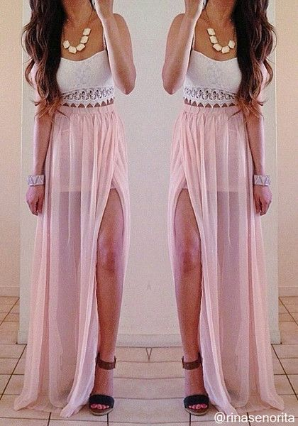 Polish your beach-babe look by wearing this flowy maxi skirt over ...