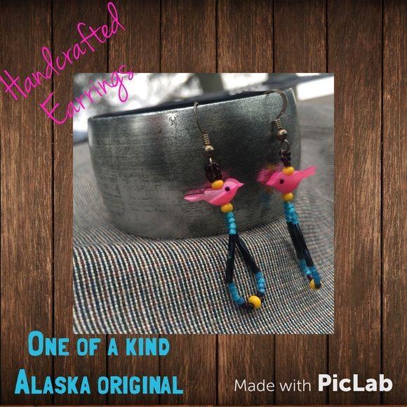Handcrafted pink bird dangle earrings. Original AK Cute and fun earrings. Handcrafted in Alaska. One of a kind. Never worn! BRAND NEW! Jewelry Earrings