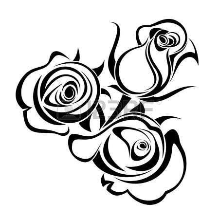 Rozy Pochki Vektornyj Chernyj Siluet Photo Black Silhouette Silhouette Drawing Rose Buds