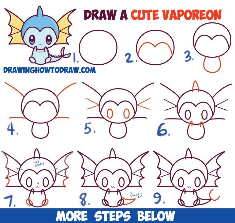 How to Draw Cute Kawaii Chibi Vaporeon from Pokemon Easy Step by Step Drawing Lesson for Beginners - How to Draw Step by Step Drawing Tutorials