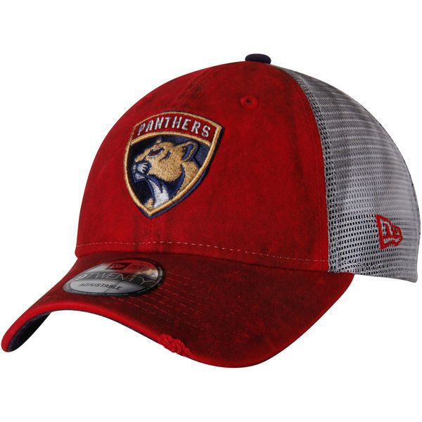 4b9523bef80df Men s Florida Panthers New Era Red White Team Rustic Trucker 9TWENTY Adjustable  Snapback Hat