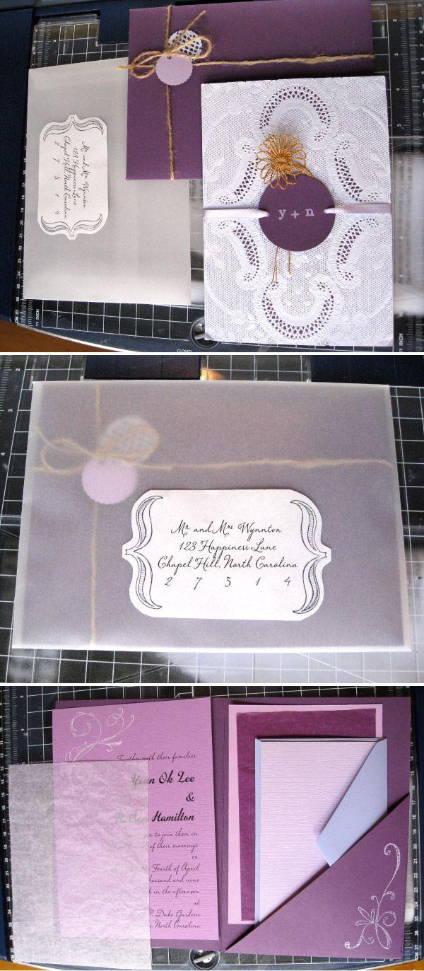 Diy week invitation packaging purple cards diy wedding