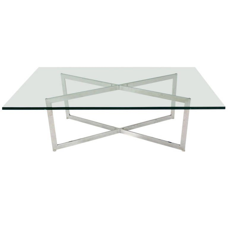 Mid Century Modern Stainless Chrome XBase Coffee Table with Glass