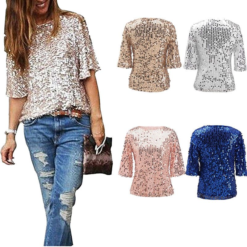 47a045ac9ee70 Women Blouse Sparkle Shine Glitter Sequin Cocktail Party Tops Fashion Shirt  Girl