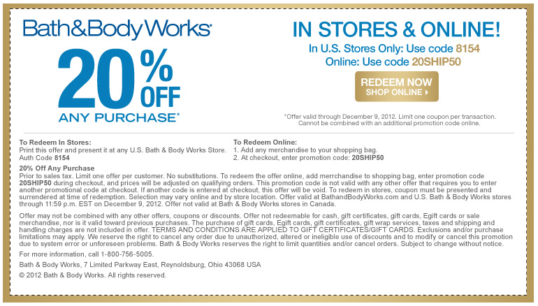 20 Off At Bath Body Works Or Online Via Checkout Promo 20ship50 Coupon Via The Coupons App Promo Codes Online Bath And Body Works Coupon Apps