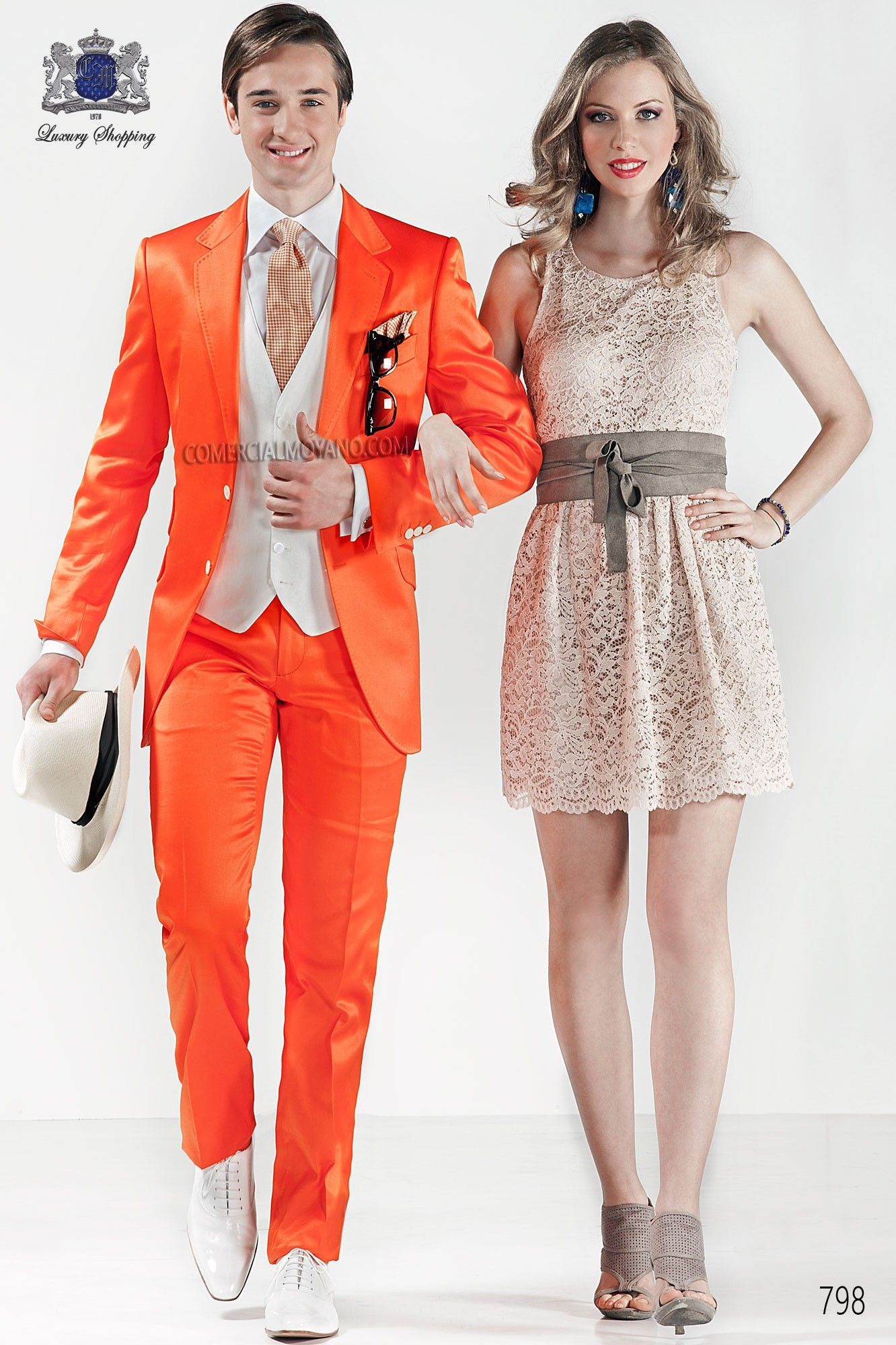 Orange satin cotton fashion men suit weddings pinterest satin