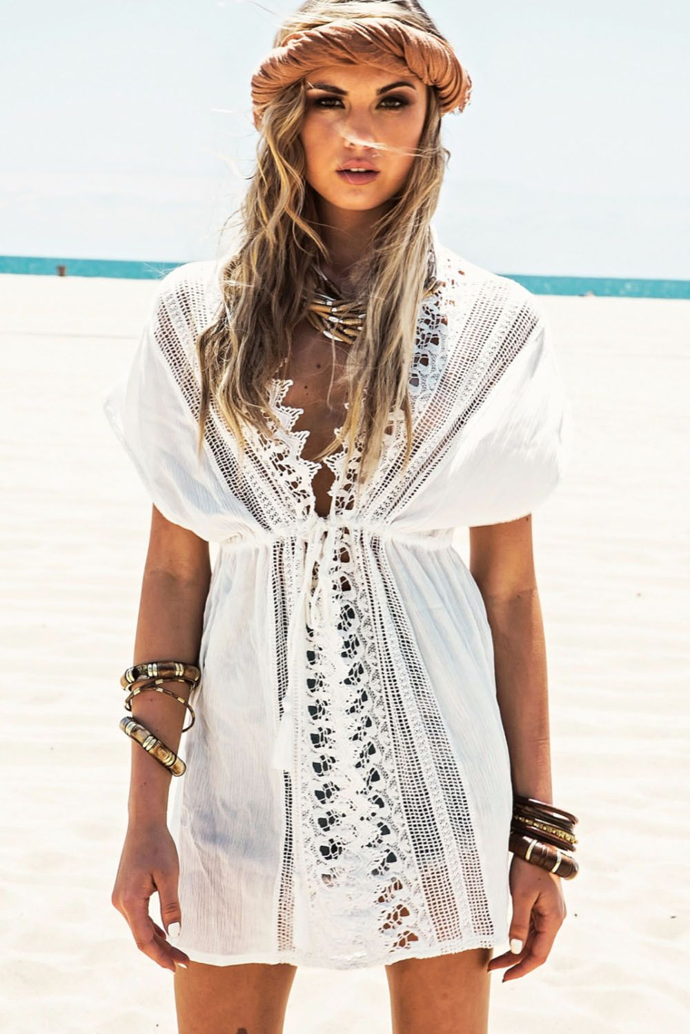 Beach cover ups 15 best outfits beach covers beach and clothes white short sleeve v neck cotton beach caftans lace crochet tunic beach cover ups sexy kaftan bikini swimsuit cover up dress bankloansurffo Images