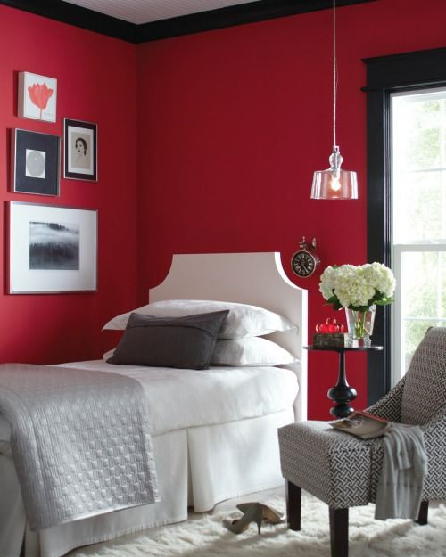 Red Room Black Trim Red Rooms Bedroom Red Bedroom Decor