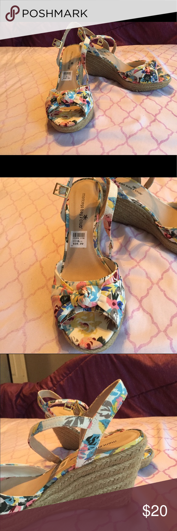 Wedges Montego Bay Club wedges, super cute, barely worn, heel approximately 4 inches Montego Bay Club Shoes Wedges