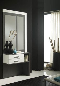 meuble d 39 entr e moderne miroir pacxi coloris blanc et. Black Bedroom Furniture Sets. Home Design Ideas