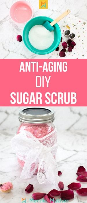 Easy DIY Sugar Scrub Recipe. Using essential oils to make a luxe homemade sugar scrub. #sugarscrub #diysugarscrub #homemadesugarscrub #rosesugarscrub