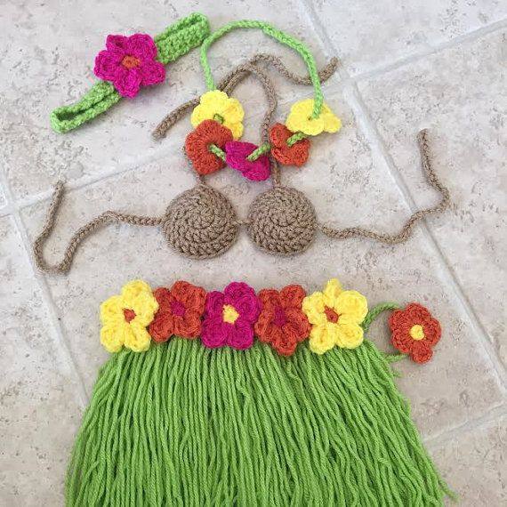 crochet shower gift photo costume Baby Hula Outfit halloween prop set