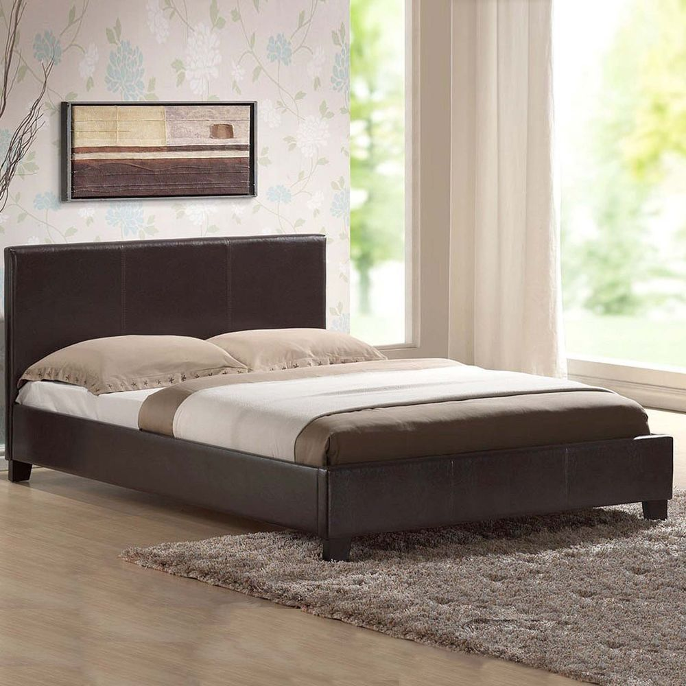 Best Details About Leather Bed Double King Black Brown White 400 x 300