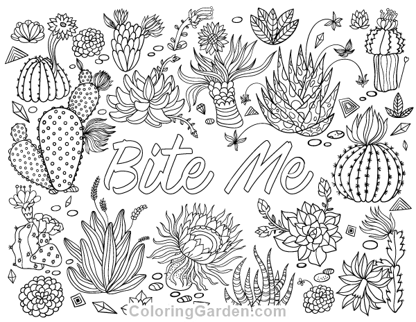 "Free printable ""Bite Me"" adult coloring page. Download it"