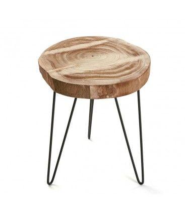 Tabouret Rondin De Bois Et Pieds En Metal Noir Table D Appoint En Bois Rondin De Bois Deco Bois
