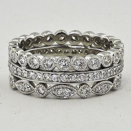 18k White Gold Luxe Antique Eternity Diamond Ring Stack 1 Ct Tw