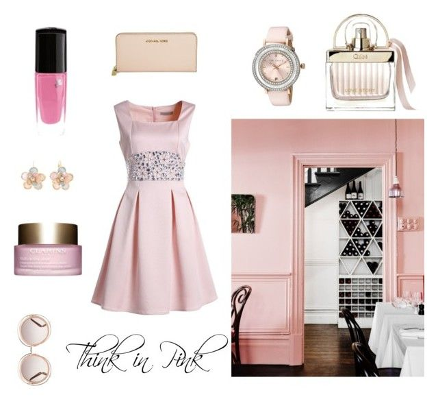 Think in Pink by profumeriesabbioni on Polyvore featuring bellezza, Chloé, Ted Baker, Mixit, Michael Kors, Pink, lancome and clarins