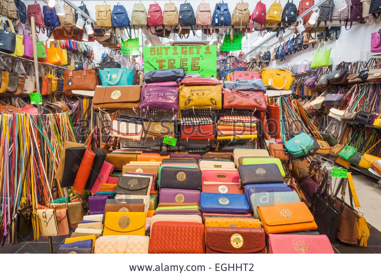 0436bd94861 China, Hong Kong, Stanley Market, Shop Display Of Fake Purses And ...