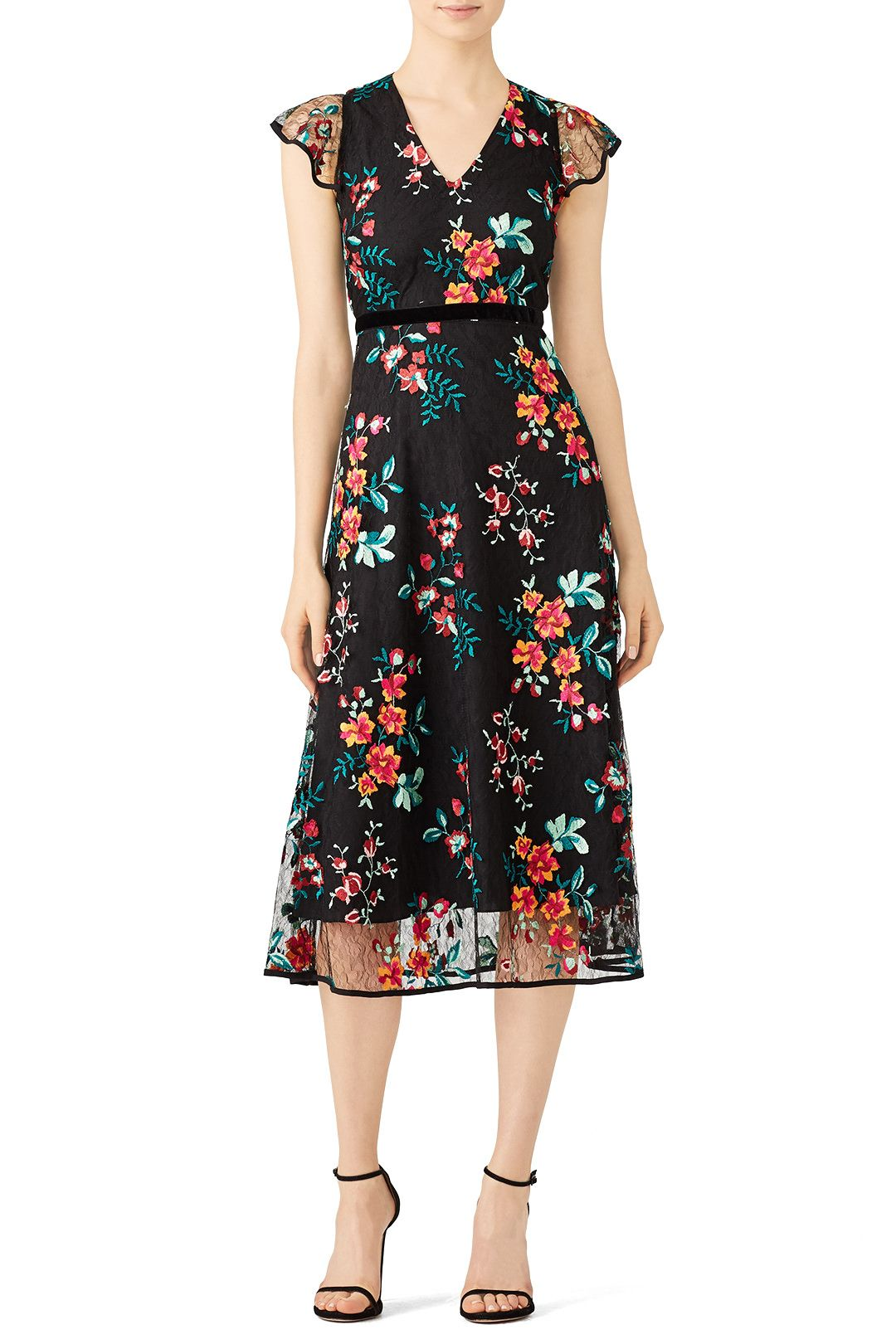 Rent Black Floral Lace Dress By Hunter Bell For 60 Only At