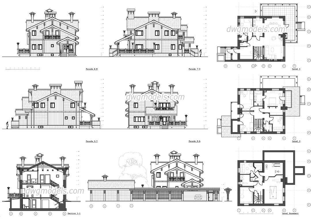 Classic Villa Autocad Autocad Drawing Villa